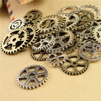 Wholesale 105 piece Mixed Vintage steampunk Charms Gear Pendant Antique bronze Fit Bracelets Necklace DIY Metal Jewelry Making A3845