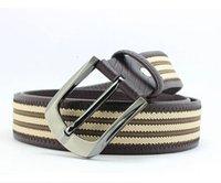 Hot rayas Venta Cinturón Hombres Lienzo PU cuero patchwork Cinturón Hebilla Cinturones Casual Vintage BE132