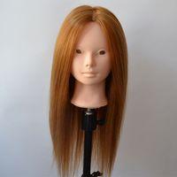 training manikins - Mannequin Manikin Dummy Human Hair Training Mannequin Heads With Golden Hair Fit for Updo Make UP Curled BM010a1
