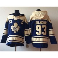 Wholesale Maple Leafs Men Player Sport Uniform Doug Gilmour Nevy Blue Hockey Hoodies New Hockey Sweater Lace Up Hockey Jacket Ice Hockey Outwear