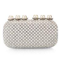 Wholesale Luxurious Diamond Shiny Evening Handbags Pearl Crystal Clutch Ladies Wedding Banquet Party Fashion Bag