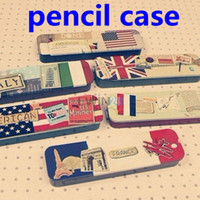 Wholesale children vintage country flag printed iron Pencil box Tin pencil case iron storgae box iron case