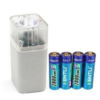 1.5v battery charger - 4PCS V mAh Kentli Li Battery Kits Rechargeable AA Li polymer Batteries with LED Flashlight Chargers USB Cable Sockets Design