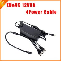 al por mayor cámaras de seguridad 12v-Cuerda libre del envío de la UE EE.UU. CCTV Fuente de alimentación Cable de cámara CCTV 12V 5A 1 adaptador 4 Potencia de Split para Sistema de seguridad