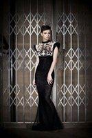 al por mayor vestido de seda pura negro-Yousef aljasmi Myriam fares Vestido de mujer Vestido de celebridad Vintage Elegance sexy Bodycon vestidos Negro Sheer Mermaid Silk Blend Crew Neck