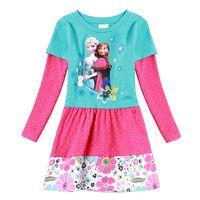 Wholesale Korean Frozen children clothing girl dress princess party dresses long sleeve leopard print baby clothes H0044