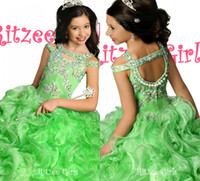 Wholesale Ritzee Girls Beautiful Lime Crystal Ball Gown Girls Pageant Dresses Off the shoulder Floor Length Ruffles Organza Girls Formal Dresses