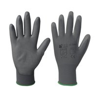 coated gloves - Grey PU palm coated gloves with grey polyester seamless shell GLT313G G