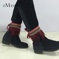 Wholesale Creative ribbon ankle bracelet elegant ethnic style for women eManco new fashion trendy feather foot accessories NL12248