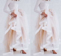 ruffle skirt - New Design Tulle Maxi Skirt with Satin Ribbon Edge Champagne Ruffled Stylish Skirts for Women Sexy Woman Long Winter Skirts