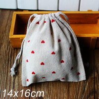 Wholesale Linen Bag Drawable Packaging Bag Wedding Gift Bags quot Red heart print quot x20cm