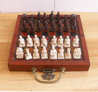 Wholesale DHL FedEX Ship Chinese Army Style Pieces Chess Set Leather Wood Box Xian Terracota Warrior Christmas gift Arts and Crafts