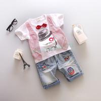 Wholesale Fashion Casual Kids Boys Summer Set Cute Wear Casual Bow Tie T shirt Tops Denim Shorts Jeans Two Piece Set