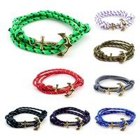 best nylon rope - Nautical Anchor bracelets for Women Mens Fashion Jewelry Gold Alloy Handmade Braided Nylon Rope Watch Bracelets Best Friend Gift