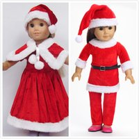 Wholesale Doll Clothes Fits quot American Girl Doll Christmas Outfits Santa Hat Dress Cape Hat Clothes Pant Birthday Present