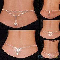Wholesale NEW SEXY SILVER RHINESTONE BELLY WAIST LOWER BACK CHAIN LP