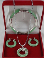 Wholesale gt gt gt Geinue green jade silver dragon pendant earrings bracelet