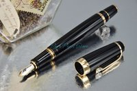 best fountain pens - PURE PEARL MB BOHEME Series Super AAA Quality Best Design Pure Black and Golden Clip Fountain Pen