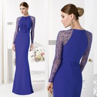 aire dark crystal - Royal Blue Mermaid Mother Of The Bride Dresses Long Sleeves Beads Wedding Mother Dress For Bridal Aire Barcelon Spring Evening Prom Gown