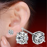Wholesale 4 mm Sterling Silver Cut Austria Diamond Vintage Style Silver Stud Earrings pairs