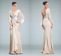 beaded motif - Graceful V Neckline Column Evening Dress Featuring Beaded Motifs and Sheer Long Sleeves Zipper Floor length Formal Dresses X0739