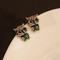 Wholesale hot selling fashion vintage owl rhinestone stud earring