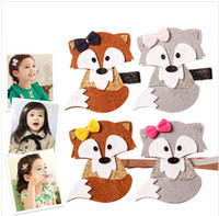 Barrettes cloth Animal Glitter Felt Fox Hairpin Cute Bow Woodland Fall Cartoon Animal Hair Clips Brown Grey Fashion Autumn Trendy Baby Barrette Headband m860