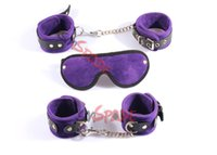 Wholesale New Velvet Restrain kit hand cuffs ankle cuffs blindfold leather flogger Plush Adult toys Novelty product