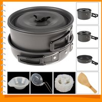 camping cooking pot set - Outdoor Camping Hiking Aluminum Cookware Backpacking Picnic Non stick Bowl Pot Pan Cooking Tools Set for People