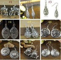 Wholesale 2015 NEW Jewelry Retro Tibetan Silver Hollow Plant Fashion Vintage Earrings For Women designs pairs