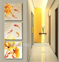 Wholesale 3 Piece Set Modern Abstract Golden Chinese Koi Fish Blooming Lotus Flower Landscape Oil Painting On Canvas Wall Art Home Deco