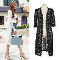 Crew Neck lace cardigan - New Women Fashion Hollow Out Lace Blouses White Black High Street Casual Long Cardigans Coat Hot Sale Casual Shirts