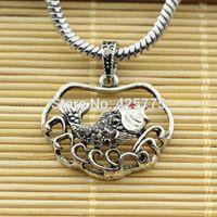 Cheap 20pcs lot Hematite Crystal Tibetan Silver Fish Carp Jump Longmen Charms Pendants Big Hole Beads For European Jewelry Bracelets