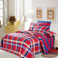 Wholesale Scotland plaid with red and blue stripe nature cotton bedding set twin full queen king size Bang s Textile