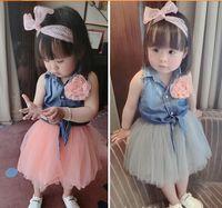 Wholesale Summer Baby Skirt Top - 2-Piece Sets 2015 Summer Baby Girl Skirt Outfits Girl Denim Flower Vest Tops + Gauze TuTu Skirts , Kids Denim Outfits 5 Set lot
