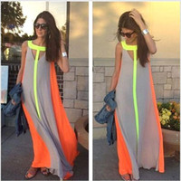 sundresses - 2015 New Summer Casual Dresses Bright Color Patchwork Sleeveless Sundress Big Skirt Loose Long Dress Cheap Women Maxi Dresses