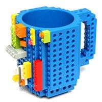 Wholesale Creative DIY Build on Brick Coffee Drink Mugs Lego PixelBlocks Mega Bloks KRE O or K NEX Bricks Compatible Bricks Cup