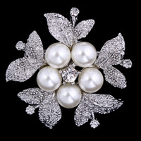 Wholesale Fashion Vintage Brooch Gift Rhinestone Flower For Wedding Bridal Dresses Hijab Clip Scarf Buckle Brooches Pins