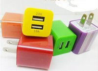 samsung tablet - Cell Phone Chargers plug Dual USB A AC Power Adapter Wall Charger Plug port for mobile phone samsung galaxy note NEXUS tablet ipad LJ