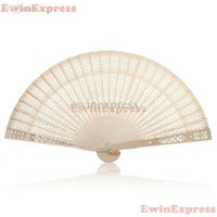 wooden hand fan - 10x Vintage Folding Bamboo Wooden Carved Hand Fan Wedding Bridal Party Great Gift