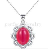 Wholesale Ruby pendant Necklace sterling silver Fine red gemstone jewelry Perfect jewerly Wholesales For women DH