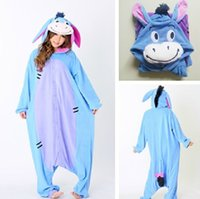 adult onesies - Fashion Christmas Halloween Costumes Pajamas All in One Pyjama Animal suits Cosplay Adult Flannel Eeyore Donkey Cartoon Onesies