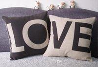 black pillow cases - 500PCS HHA82 Cute Lovely European black and white LOVE Pillow Case Car Couch pillow sofa pillow cushion