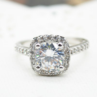 Wholesale New Sterling Silver Jewelry Luxury Crystal Zircon Rings for Women Fine Jewelry Engagement Finger Rings