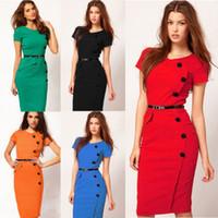 Wholesale European Style Button Fashion Bag Hip Slim Dress