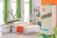 Wholesale Mediterranean style Hot sale Children Bedroom Furniture bed desk wardrobe and bookshelf set girls and boys furniture