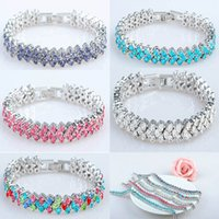 Wholesale Rome Europe Bracelet Girl Women Zircon Crystal Bracelet Jewelry Korea Fashion Accessories Styles Purple White Pink