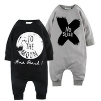 Wholesale For M INS quot No Sleep quot quot To the Moon quot XO Print Spring Autumn Long Sleeve One Piece Jumpsuit For Infant Baby Wear Cotton Kids Clothing Child