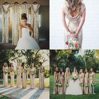 Wholesale 2015 Gold Sequins High Neck Cap Sleeves Long Bridesmaid Dresses Bling Sheath Prom Dresses Long Maid Of Honor Dresses Formal Evening Gowns