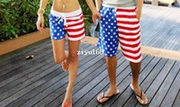 Wholesale New American Flag Beach Shorts Men Swimwear Women Beach short Pants Black White Stripe Stars Lovers Sport short Swimming Surf